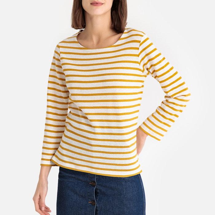 61b6bebc Sirene bis breton striped cotton/linen t-shirt , ecru/yellow, Soeur | La  Redoute