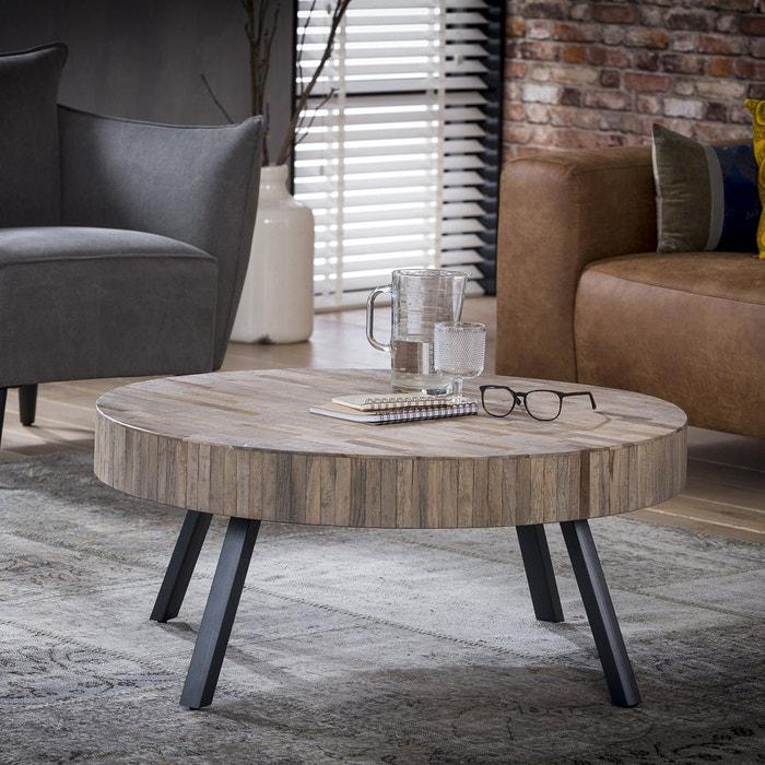 acheter populaire d40ce 76ea7 Table basse ronde 90cm grand plateau bois recyclé naturel pieds métal style  contemporain industriel JAVA