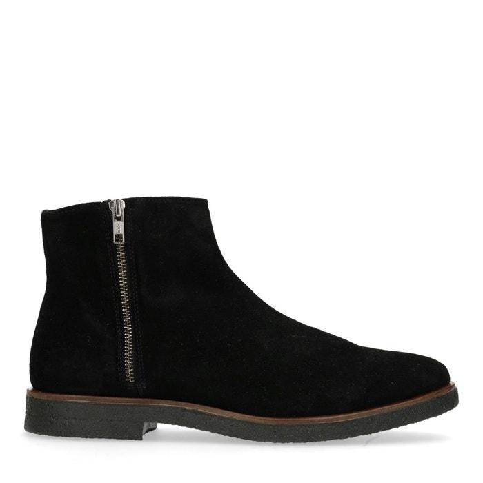 c835a132de0 Boots en daim basses avec fermeture éclair noir Sacha