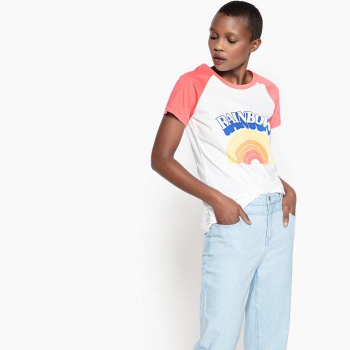 T-shirt bicolore, maniche corte, fantasia rainbow  La Redoute Collections image 0