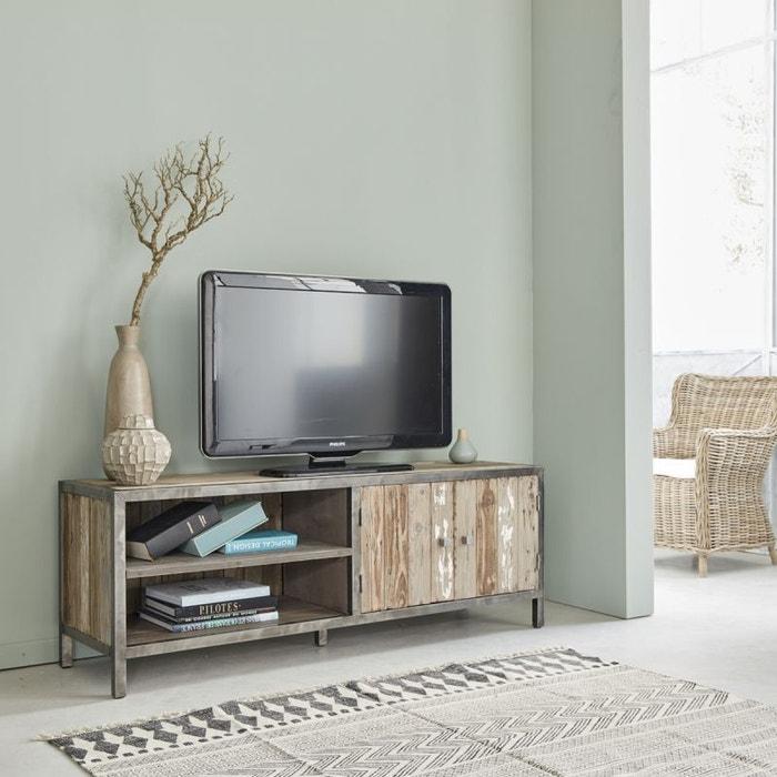 meuble tv en bois de pin recycl et m tal 2 portes pin recycl bois dessus bois dessous la redoute. Black Bedroom Furniture Sets. Home Design Ideas