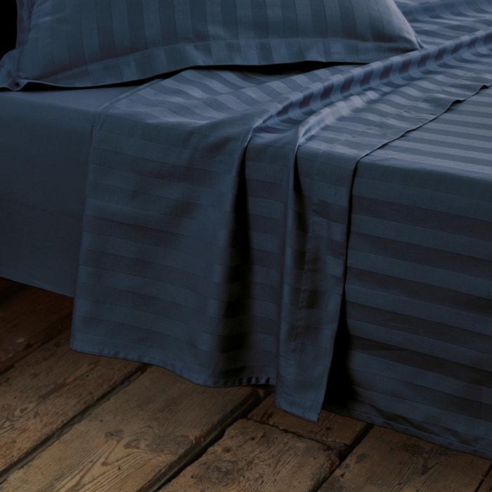Imagen de Sábana de satén de algodón, tejido a rayas La Redoute Interieurs