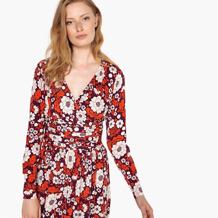 Redoute La y cintura en estampado Vestido de cruzado la flores con Collections frunces drrqA