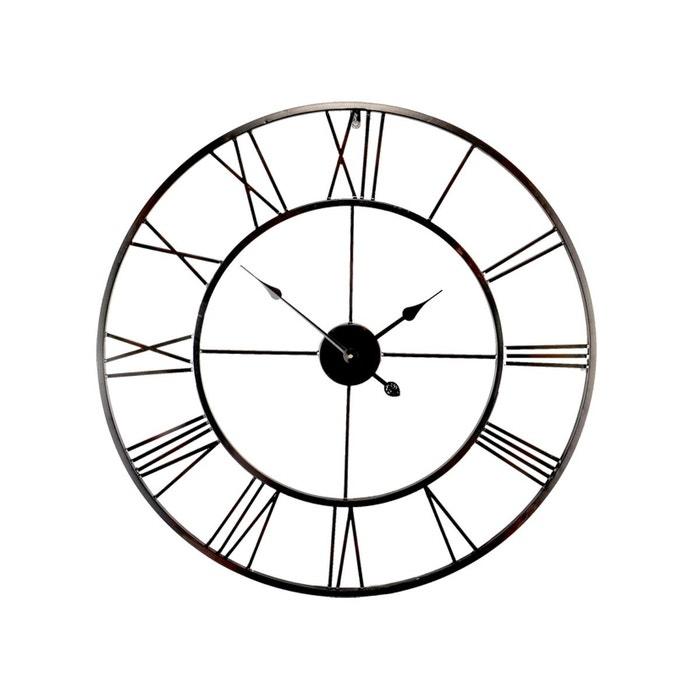 Horloge m tal ajour noir 80cm noir emde premium la redoute for Horloge metal noir