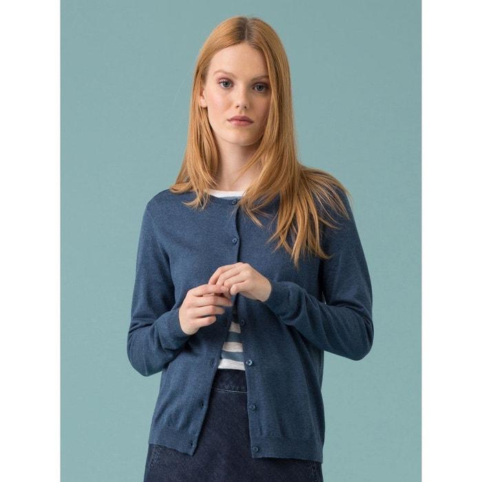 gilet cardigan femme coton soie cachemire idate bleu. Black Bedroom Furniture Sets. Home Design Ideas
