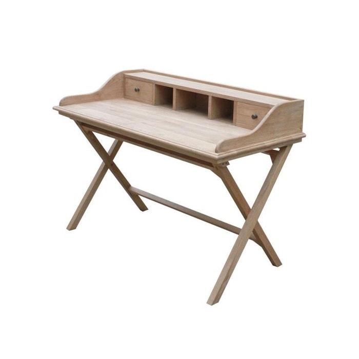 Bureau secr taire tiroirs classique chic ch ne massif 130x65x93cm medicis ch ne clair pier - Bureau classique ...