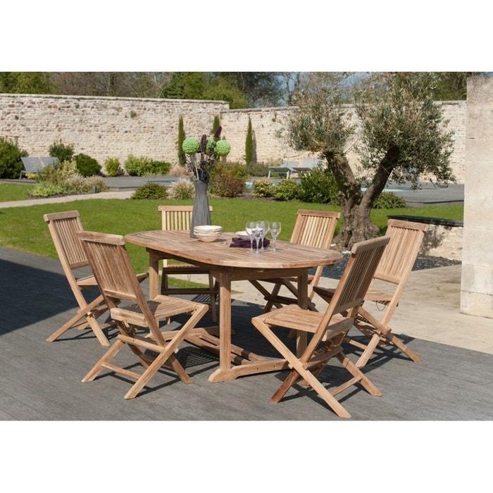 Salon de jardin teck table ovale 150/200cm 6 chaises summer table ...