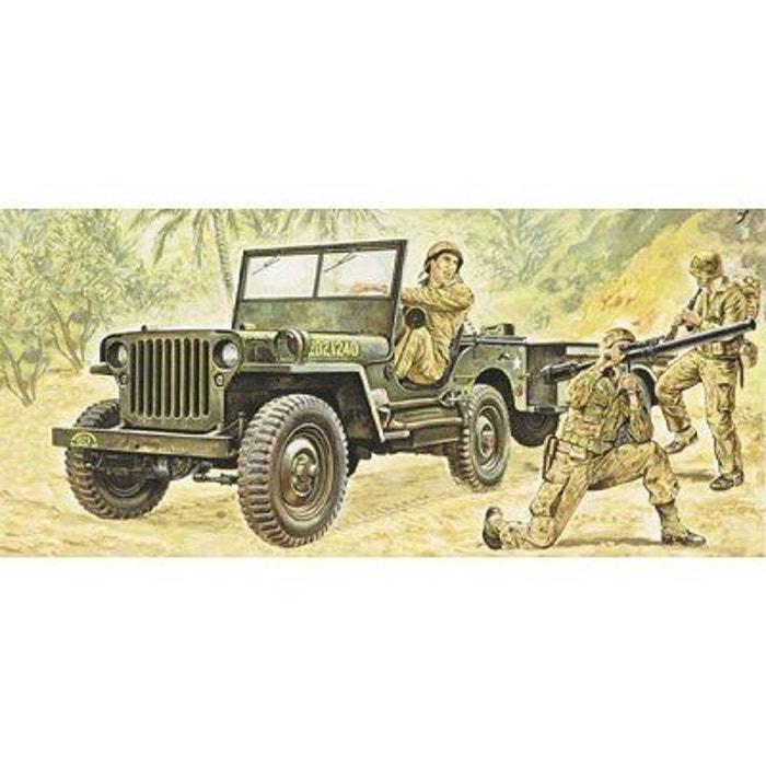 maquette jeep willys avec remorque italeri la redoute. Black Bedroom Furniture Sets. Home Design Ideas