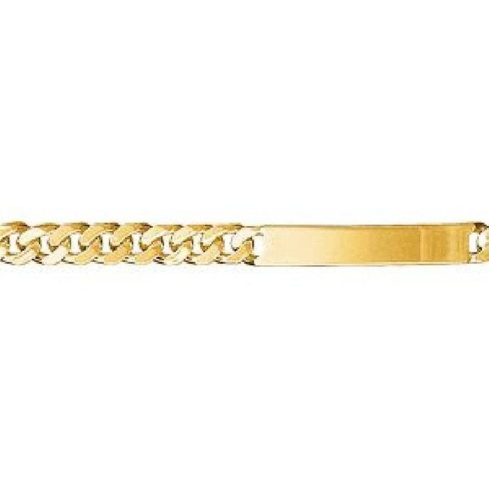 Bracelet 18,5 cm identité gourmette largeur 6 mm plaqué or 750 couleur unique So Chic Bijoux | La Redoute