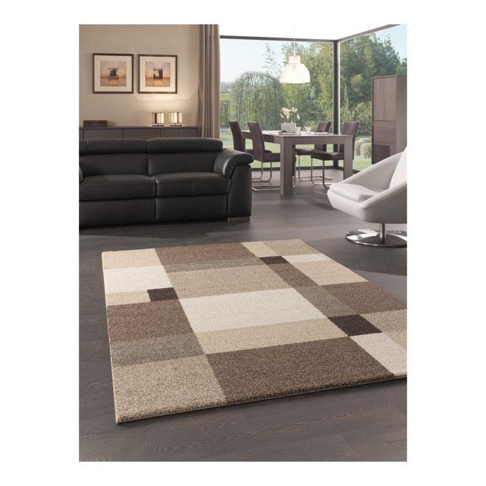 tapis motifs carr s pour salon beige silicon valley. Black Bedroom Furniture Sets. Home Design Ideas