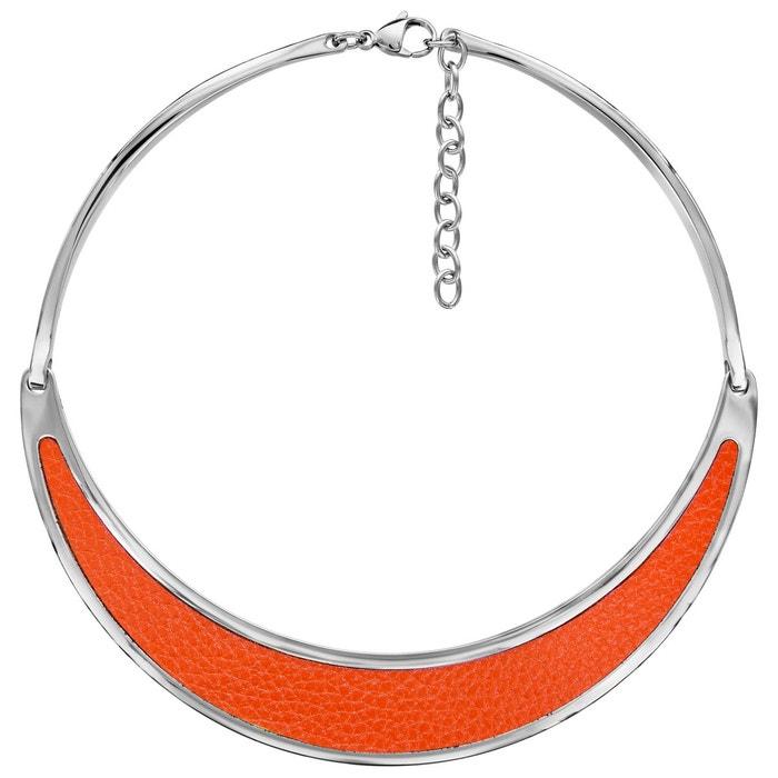 Collier semi rigide cuir orange acier inoxydable couleur unique So Chic Bijoux | La Redoute Vente En Gros Prix SI2BVLtxZP