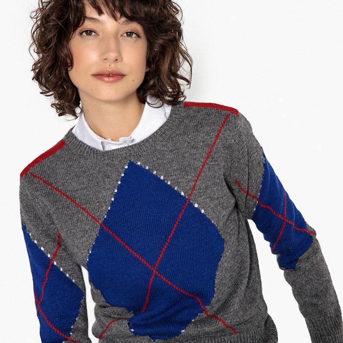 Jersey con cuello redondo de jacquard rombo  La Redoute Collections image 0