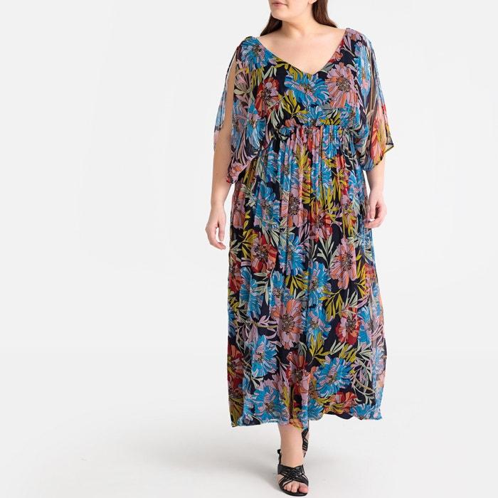 e2f2bf99fb196 Floral Print Pleated Split-Sleeve Maxi Dress CASTALUNA PLUS SIZE image 0
