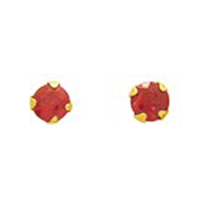Faible Coût À Vendre Boucles d'oreilles femme puces 2 mm rubis rouge or jaune 750/000 (18 carats) couleur unique So Chic Bijoux | La Redoute réal 5jYkA68