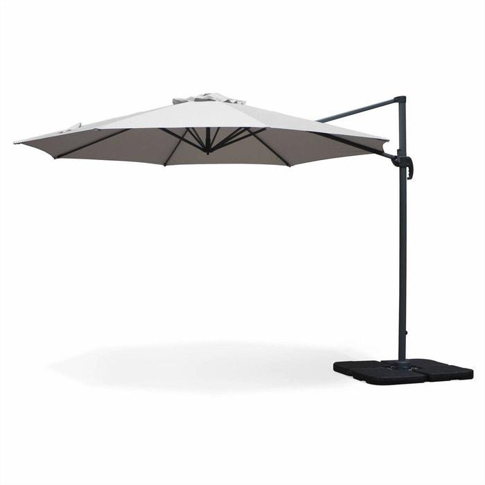 Parasol d port rond biscarosse 350cm gris clair excentr - Parasol deporte rectangulaire excentre inclinable ...