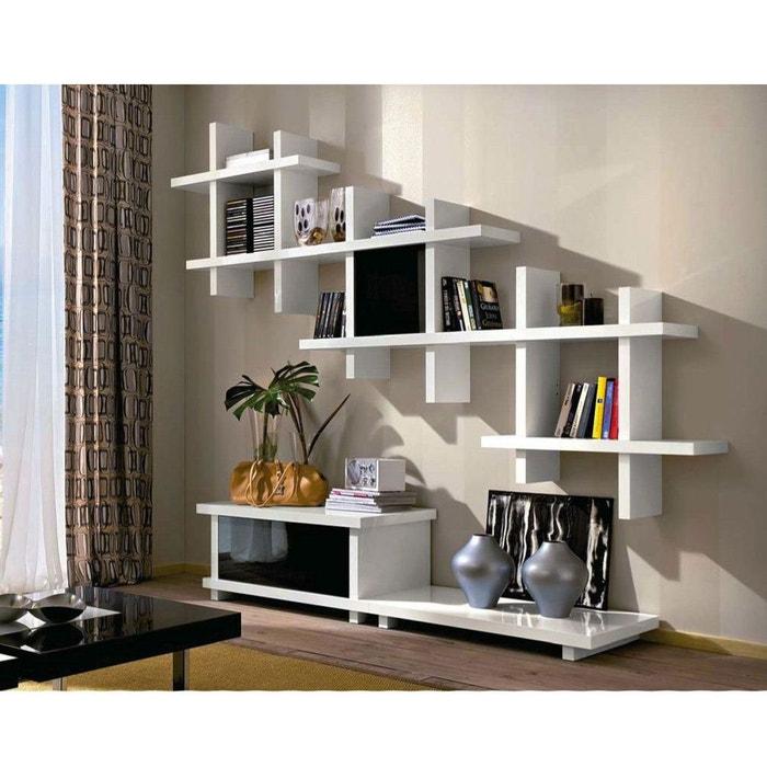 Meuble tv design avec porte alba blanc noir zendart la for Meuble tv grande taille