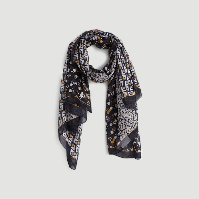 962f36e45f97 Etole en soie imprimé patchwork et fleurs bleu Monoprix   La Redoute