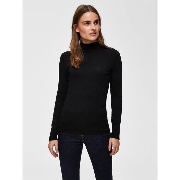 a3ddfda5d5 T-shirt à manches longues col montant - noir black Selected Femme   La  Redoute
