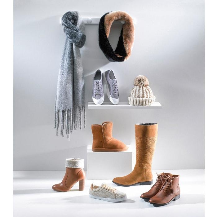 Boots cuir col fourré camel La Redoute Collections