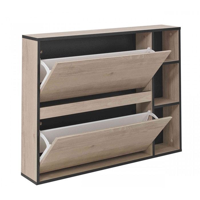 meuble chaussures chataigner noir 12 paires mc5009 bois. Black Bedroom Furniture Sets. Home Design Ideas