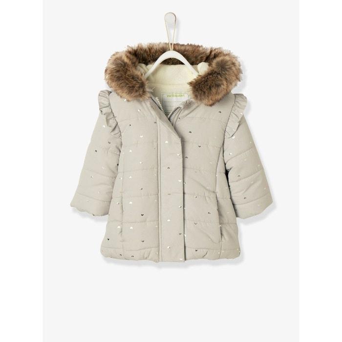 917d403ab2ee Doudoune longue plein hiver bébé fille imprimé gris clair Vertbaudet ...