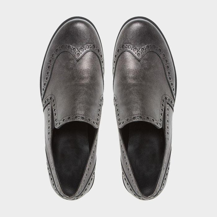 Comfort flatform brogue shoe - gibins étain cuir Dune London