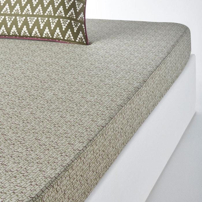 drap housse imprim popayan imprim kaki la redoute. Black Bedroom Furniture Sets. Home Design Ideas