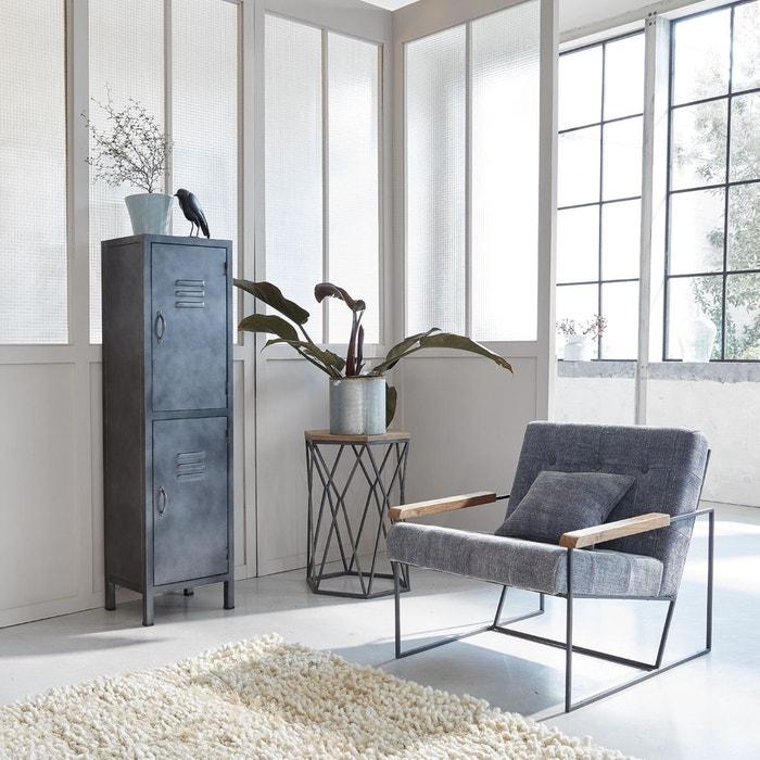 fauteuil industriel style lounge en tissu bleu b25 en soldes bleu marine made in meubles. Black Bedroom Furniture Sets. Home Design Ideas