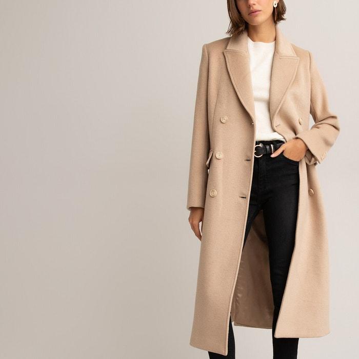 Manteau long drap de laine mélangée noir La Redoute