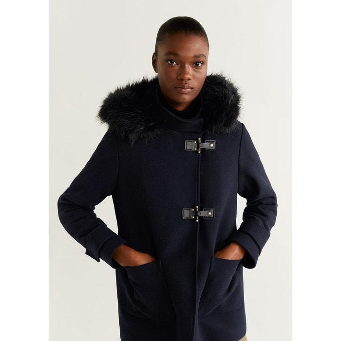 Manteau laine capuche fourrure synthétique