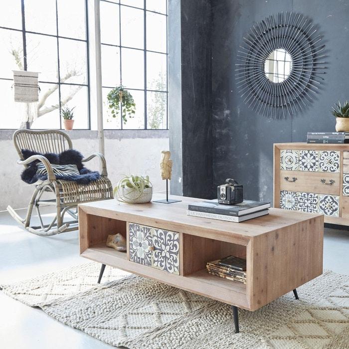 table basse carreaux de ciment 2 tiroirs uh23 en. Black Bedroom Furniture Sets. Home Design Ideas