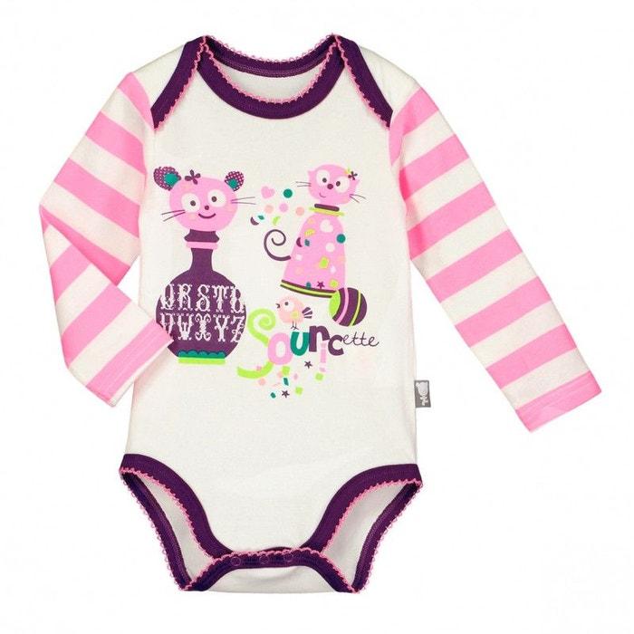 Lot de 2 bodies manches longues bébé fille dinette violet Petit Beguin  f61a9975a7e