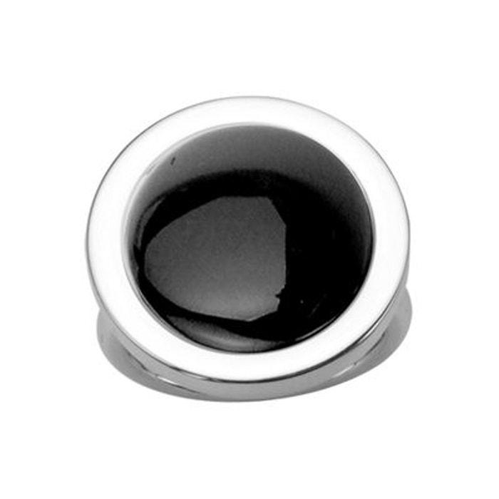 Bague femme plateau rond agate noire acier inoxydable couleur unique So Chic Bijoux | La Redoute Prix Discount W2w3uh