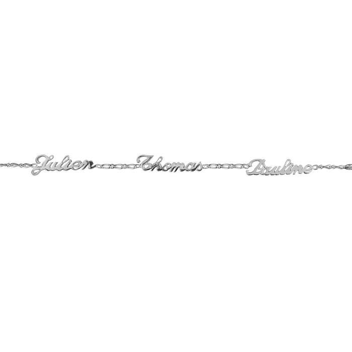 Bracelet longueur réglable: 17 à 18,5 cm gourmette maille 1 + 1 ciselée anglaise 3 prénoms argent 925 couleur unique So Chic Bijoux | La Redoute
