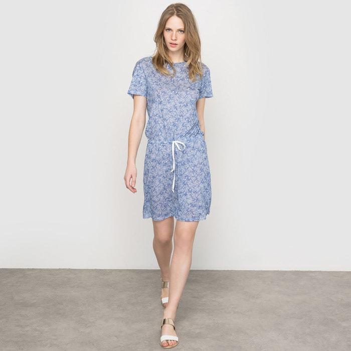 Image Short-Sleeved Printed Linen Dress R essentiel