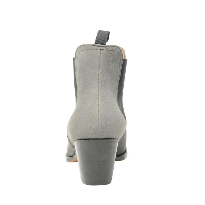Chelsea boots en velours gris gris Shoepassion