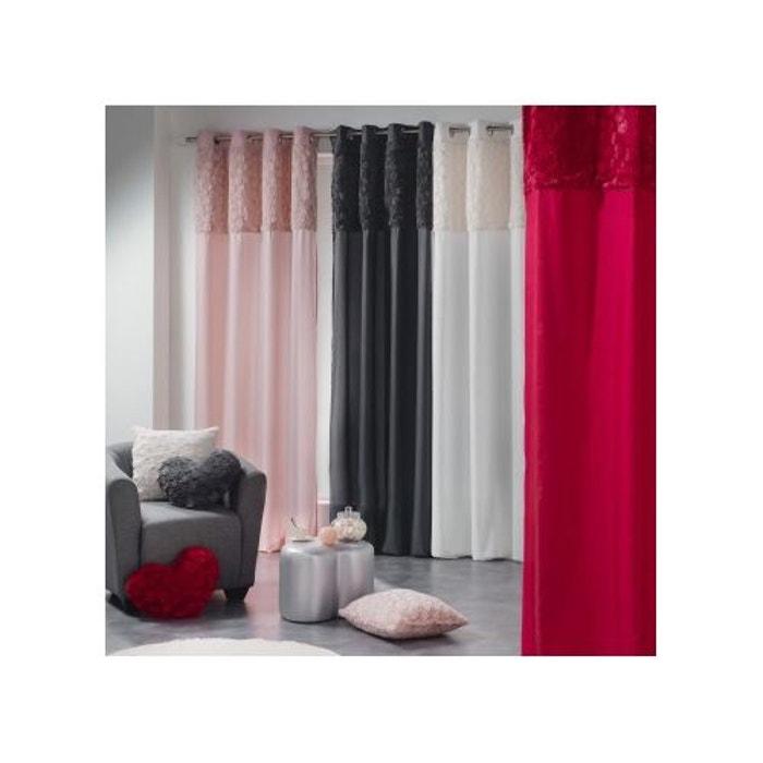 rideau avec parement en fausse fourrure poudre home maison la redoute. Black Bedroom Furniture Sets. Home Design Ideas