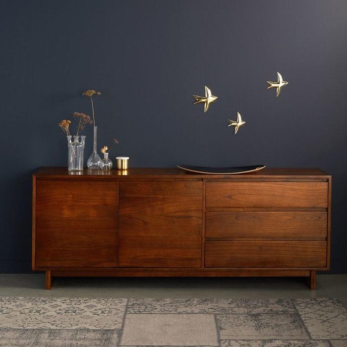 commode en bois finition noyer 3 tiroirs 2 portes noyer bois dessus bois dessous la redoute. Black Bedroom Furniture Sets. Home Design Ideas
