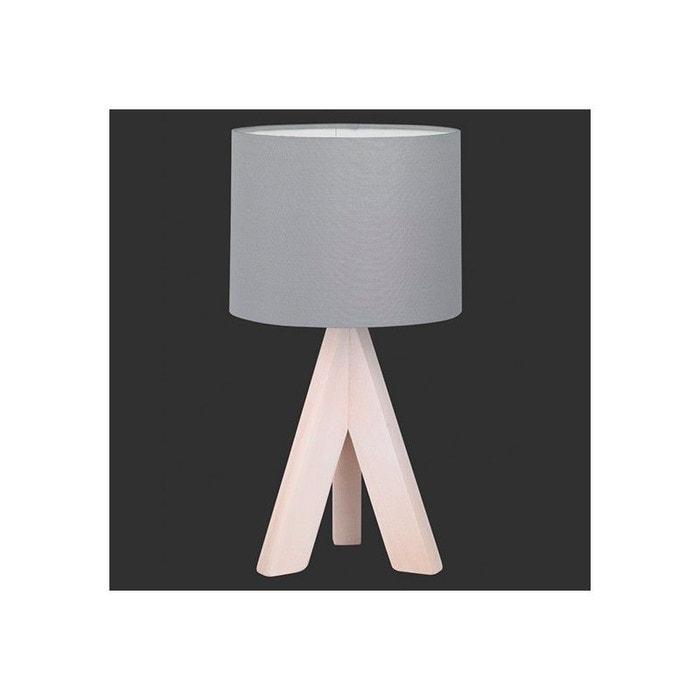 lampe de chevet bois agathe abat jour gris gris millumine la redoute. Black Bedroom Furniture Sets. Home Design Ideas