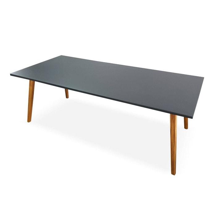 Table de jardin en pierre composite 220cm piètement bois - belem - 8 ...