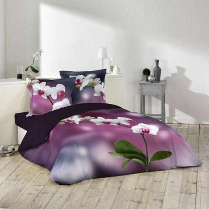 parure de couette 100 coton 260x240 orchideis violet. Black Bedroom Furniture Sets. Home Design Ideas