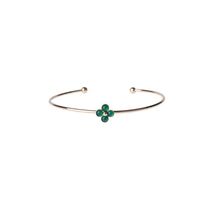 Bracelet jonc trèfle doré à l'or 24 carats orné de pierres fines Sicyone   La Redoute De Haute Qualité Pas Cher En Ligne I7shu