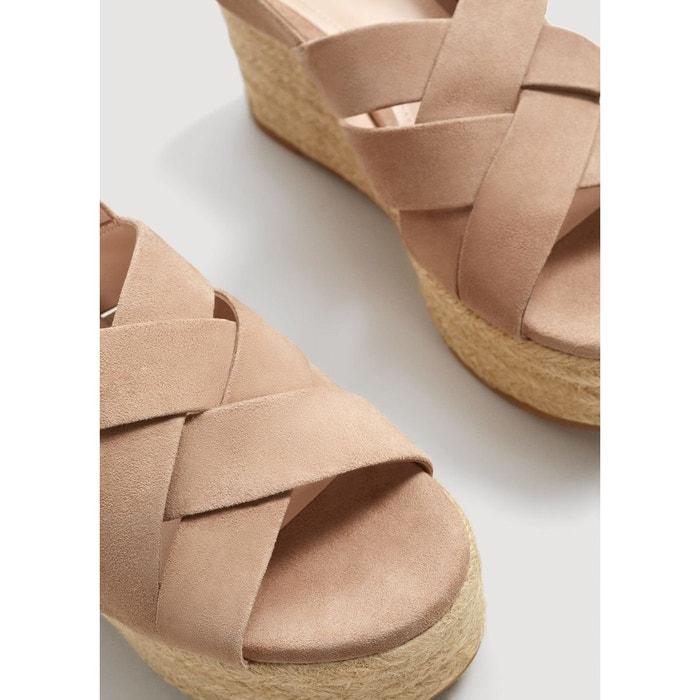 Sandales plateforme cuir grisclair/pastel Mango