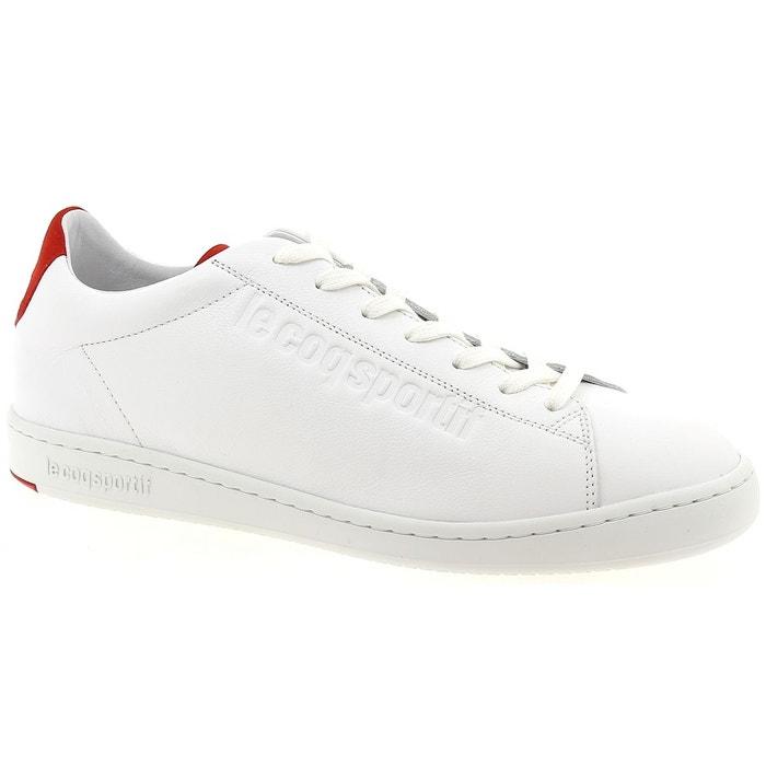 d3557c3a8871 Baskets basses cuir blanc/rouge Le Coq Sportif | La Redoute