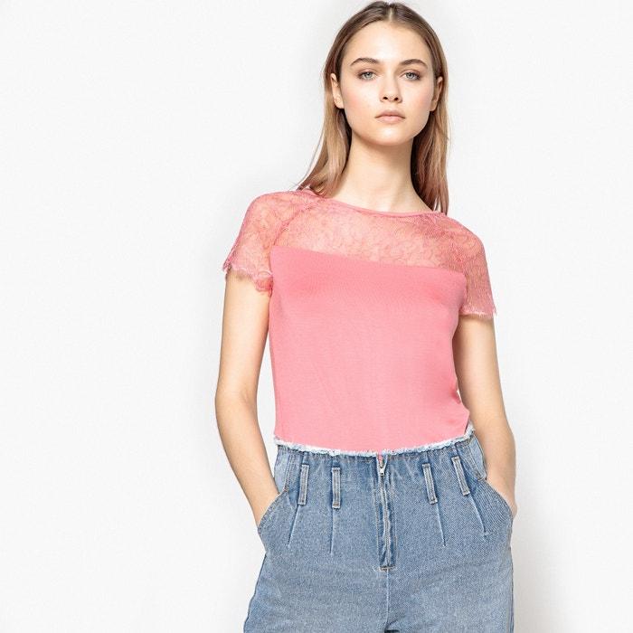 Collections con Camiseta 243;n plastr manga La redondo cuello de corta encaje Redoute de tRw5qx6H