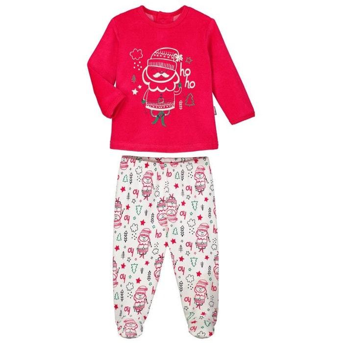 30a025aef2e50 Pyjama bébé 2 pièces avec pieds ho ho rouge Petit Beguin