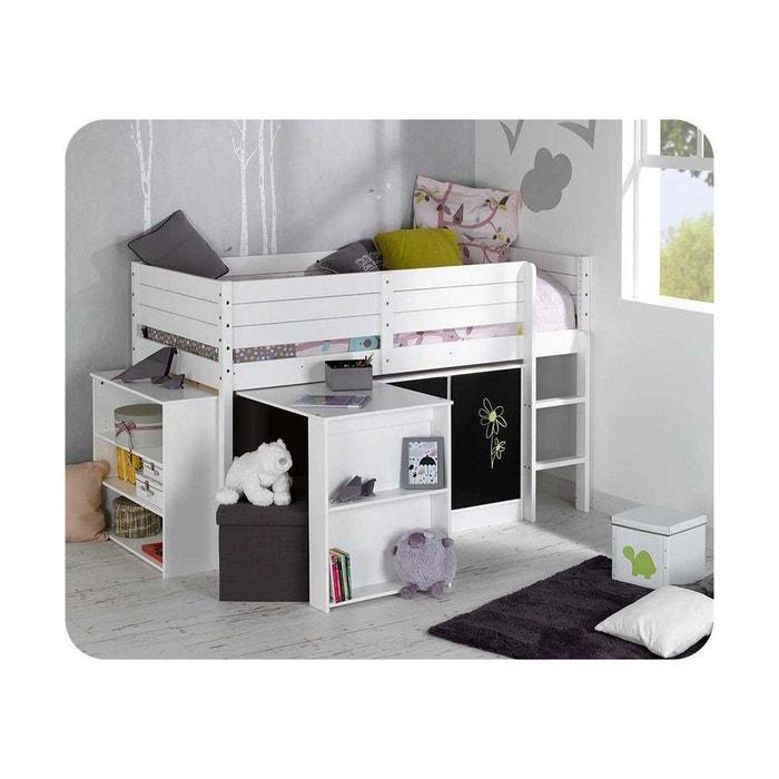 set lit enfant mi hauteur tamis 90x190 cm blanc ma chambre. Black Bedroom Furniture Sets. Home Design Ideas