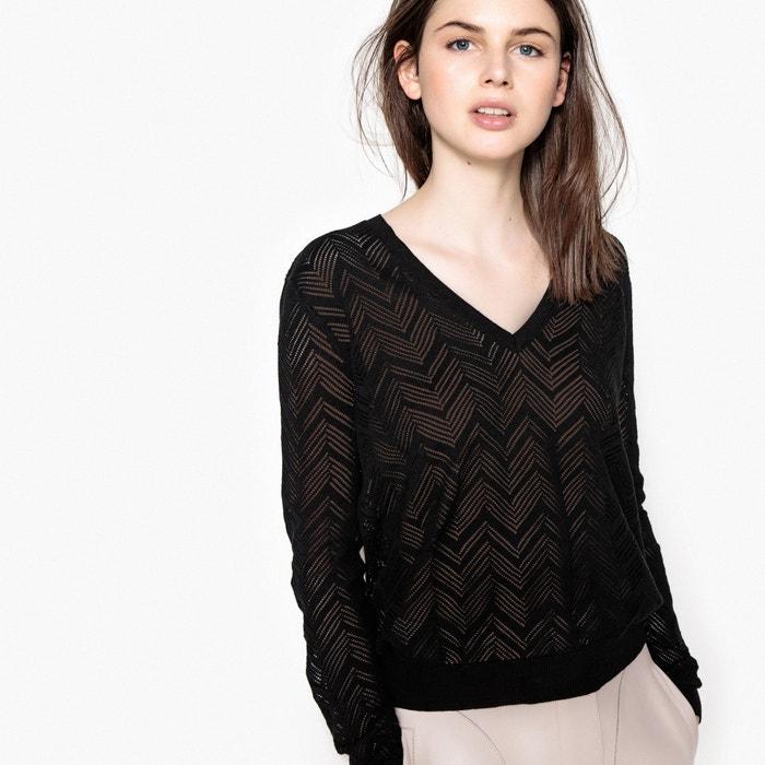 Pull scollo a V maglia sottile traforata  La Redoute Collections image 0
