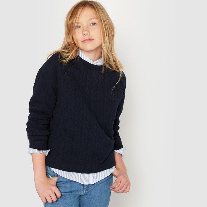 afbeelding Sweater in molton met reliëf ''vlechten'' 10-16 jr R essentiel