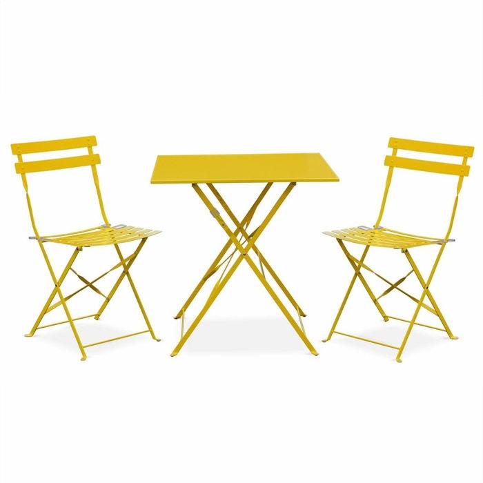 Salon de jardin bistrot pliable emilia carré jaune, avec deux ...